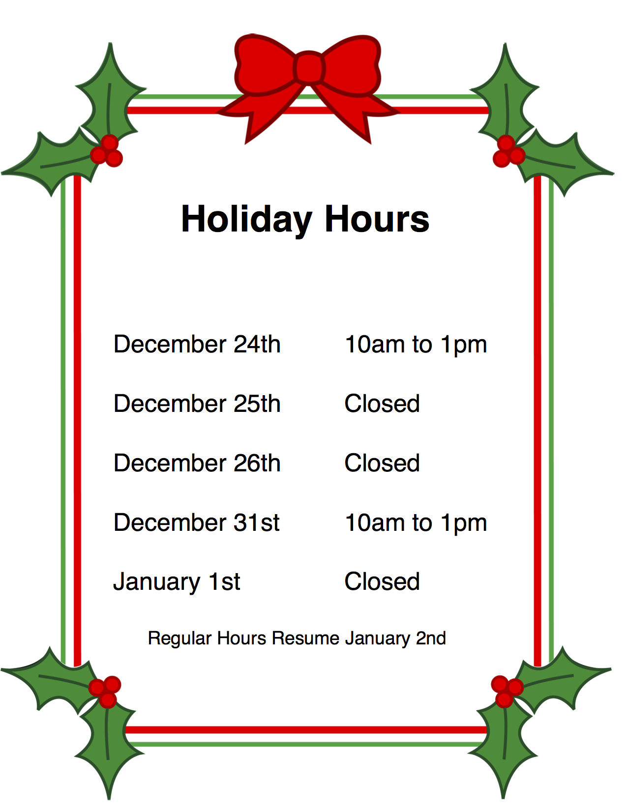 hours of operation template microsoft word - holiday hours signs template best holiday 2017
